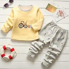 Для малышей, для мальчиков, bibicola теплые пижамные комплекты для детей осень-зима из хлопка и бархата, одежда для сна, костюм для детей с персонажами из мультфильмов для мальчиков одежда для сна комплект одежды