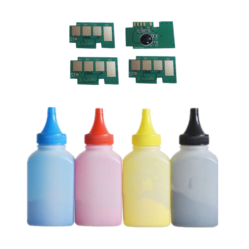 4 x Refill Color toner Powder + 4 chip CLT-504S clt504s toner cartridge for Samsung CLP-415N CLP-415NW CLP-470 C1810W C1860FW rs 4 in 1 4 in 1 toner cartridge chip resetter for samsung free shipping by dhl