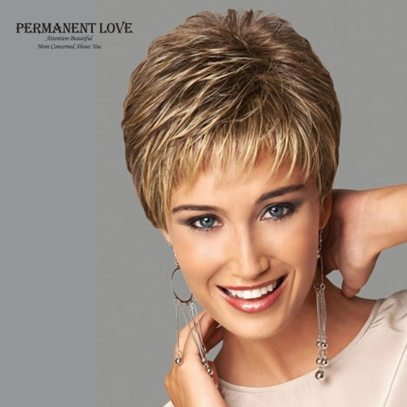 Womens synthetic short wigs pixie cut hairstyle blonde bangs dark roots  natural straight hair wigs fashion sexy full wigs peruca aae9825f41