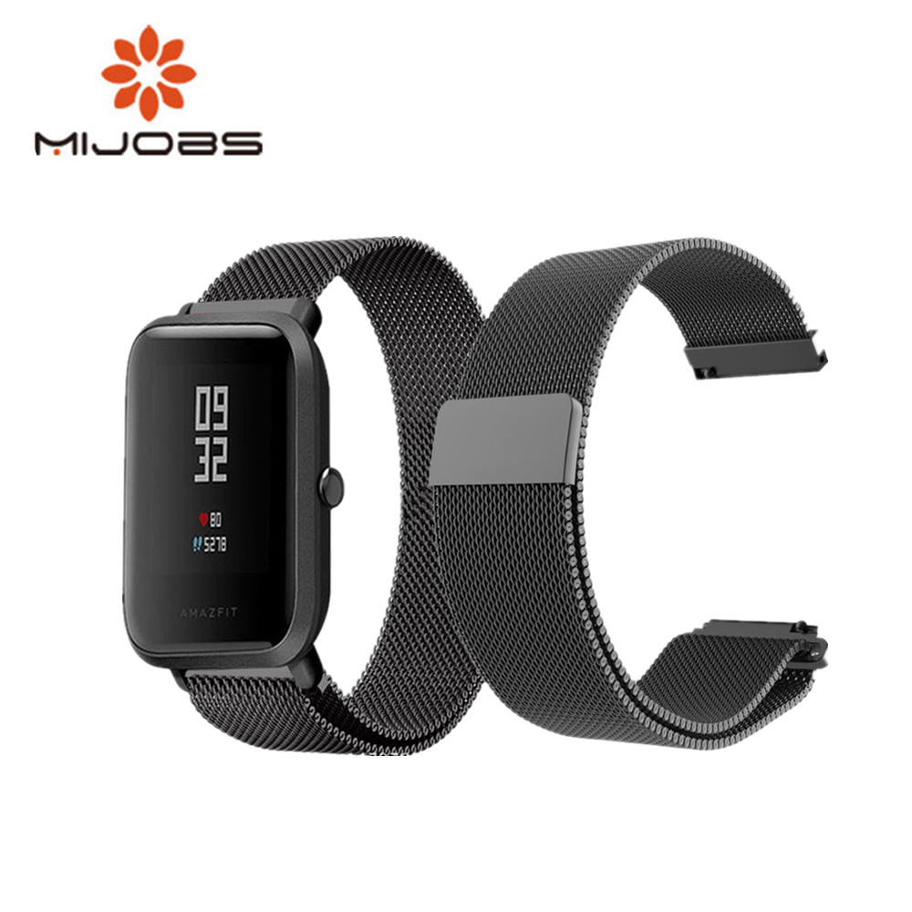 Mijobs for Xiaomi Huami amazfit BIT Strap Metal Stainless Steel Bracelet Replacement Huami Amazfit Bip BIT PACE Lite Youth Watch huami amazfit pace replacement strap black green