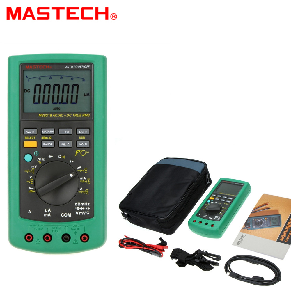 MASTECH MS8218 Digital Auto Range Multimeter True RMS DMM Voltmeter Ammeter Electrical Test Multimeter with w/RS232 Interface цена