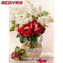 28,5x41 см точные напечатанные наборы для вышивки хрустальными бусинами цветы ваза вышивка бисером Рукоделие Сделай Сам Вышивка бисером APT576