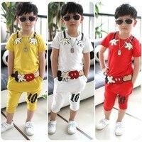 100% katoen zomer Karakter korte mouwen kinderkleding kid baby boy kleding set rood geel wit pak 2-9Ages