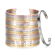 Stainless Steel Mantra Cuff Bangle