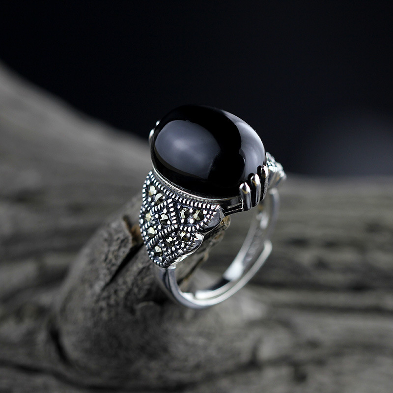 Naturel noir Agate anneaux femmes réel 925 en argent Sterling bijoux fins anniversaire fête cadeau pour dame en gros 2019
