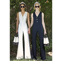 solid color white navy blue overalls sexy v neck sleeveless three buttons long pants women jumpsuit womens full bodysuits romper