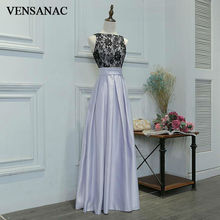 VENSANAC New A Line 2017 Flowers Boat Neck Draped Long Evening Dresses Sleeveless Elegant Lace Tank Party Prom Gowns