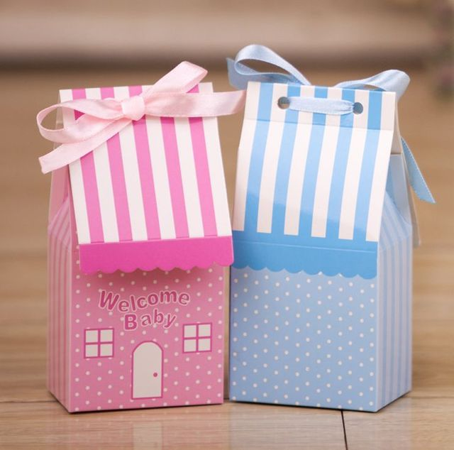 50 PCS Pink Blue Cute House Style Welcome Baby Shower Candy Boxes First Birthday Gift Box Chocolate With Ribbons