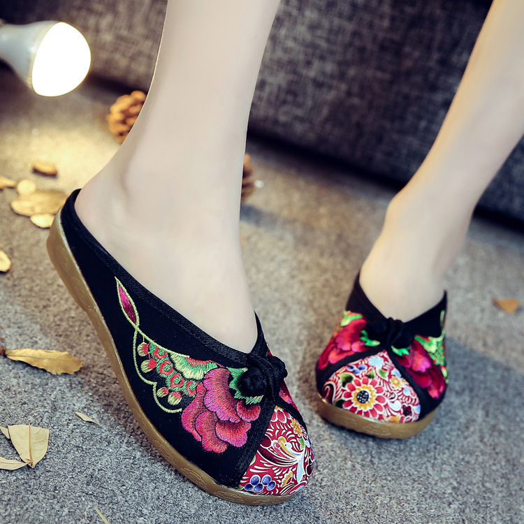 Hot Women Shoes Flats Flower Embroidered Canvas Ballets Flats Vintage Chinese Comfort Casual Soft Cotton Shoes For Woman vintage women flats old beijing mary jane casual flower embroidered cloth soft canvas dance ballet shoes woman zapatos de mujer