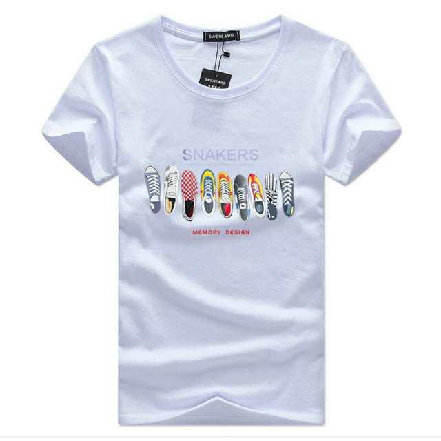 Us 775 50 Offswenearo Męskie Koszulki Lato Moda Wiersz Buty Cartoon Wydrukowano Z Krótkim Rękawem T Shirt Mężczyźni Na Co Dzień Marki Bawełna Tee