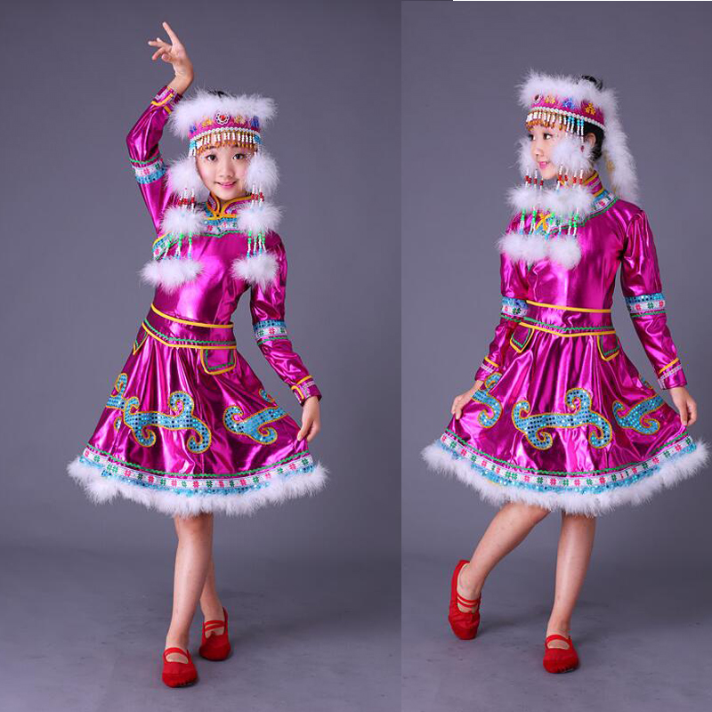 With Headdress Children Mongolia Stage Chinese Folk dance Costumes Girls Chinese Dance Clothing Kids Traditional Dance wear Suit
