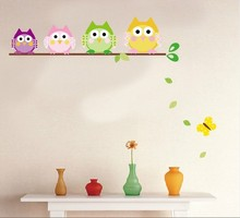 Owls on tree wall stickers for kids rooms