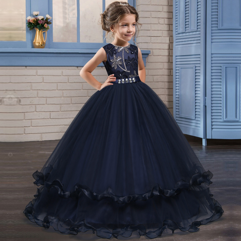 Princess Ball Gown Navy Burgundy Flower Girl Dresses Beaed Applique Girls Pageant Dress First Communion Dresses Party Gown