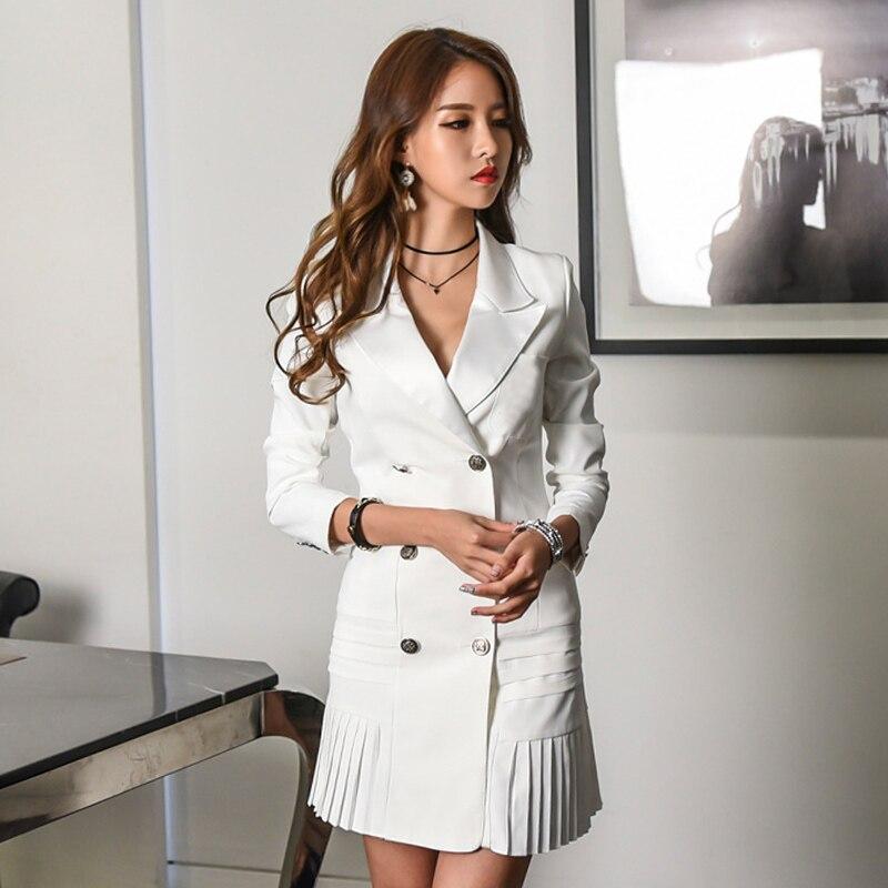 Manches Noir Robe Robes Élégant Plissé Femmes Double Col Automne Noir Office Longues Lady Breasted Mince Blanc Sexy blanc Blazers V 9DH2WYEI
