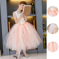 Flower Girls Tutu Dress For Wedding Birthday Party Lace Strap Mid-Calf Girls Boutique Ball Gown Tulle Dress With Satin Top PT48