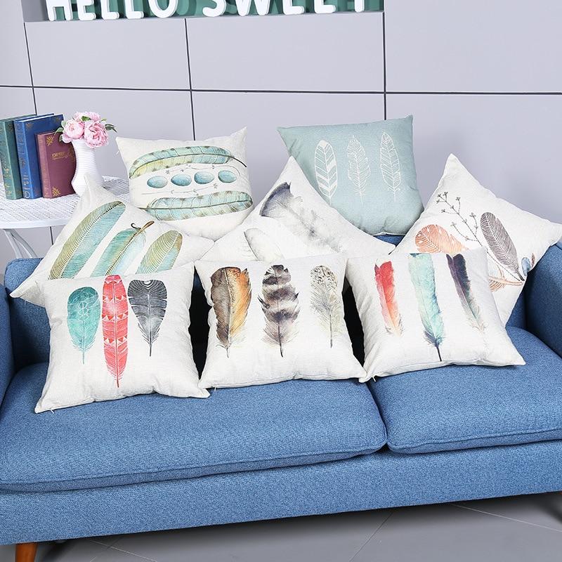 ᗗAccesorios para el hogar impresión pluma bonita casa sofá