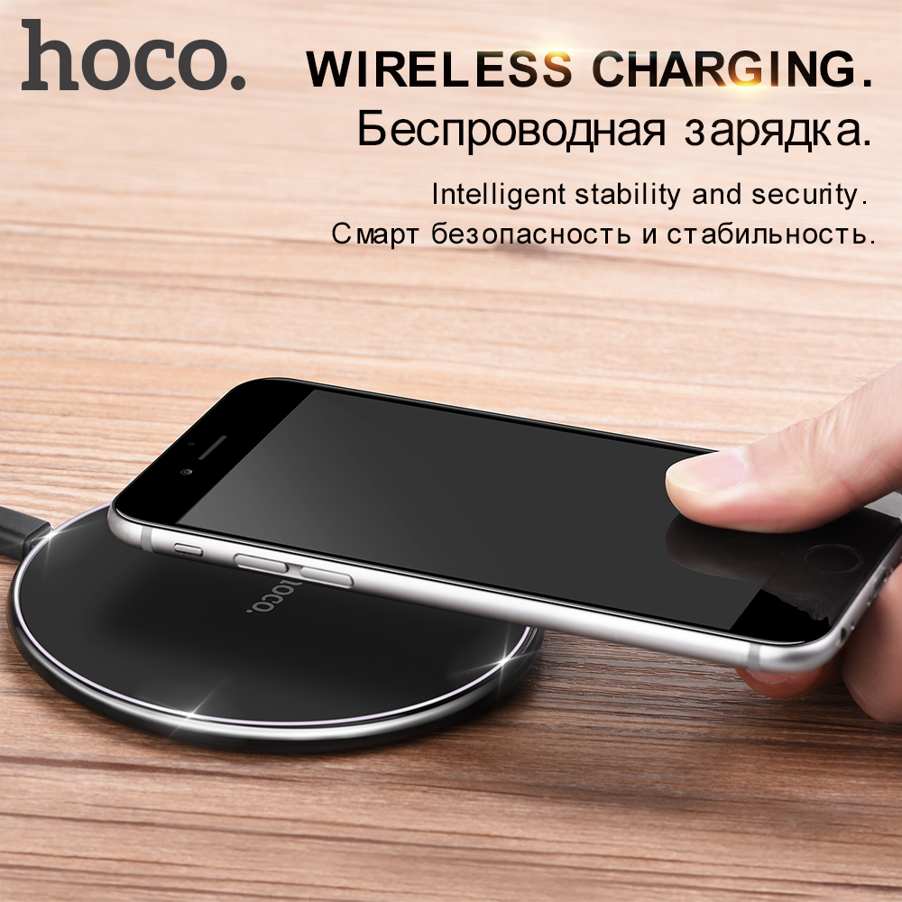 Original HOCO Mini Wireless Charger For iPhone X 8 8Plus Samsung Galaxy S7 / S8 / S8+/ S6 Edge Plus Power Port Qi Charging Pad