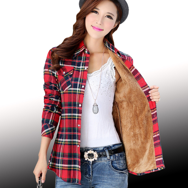 2017 Women's Cotton Winter Fashion Casual Warm Wool Shirts Blouse For Women's Long Sleeve M-XXL Size Femme Velvet Plaid Shirt