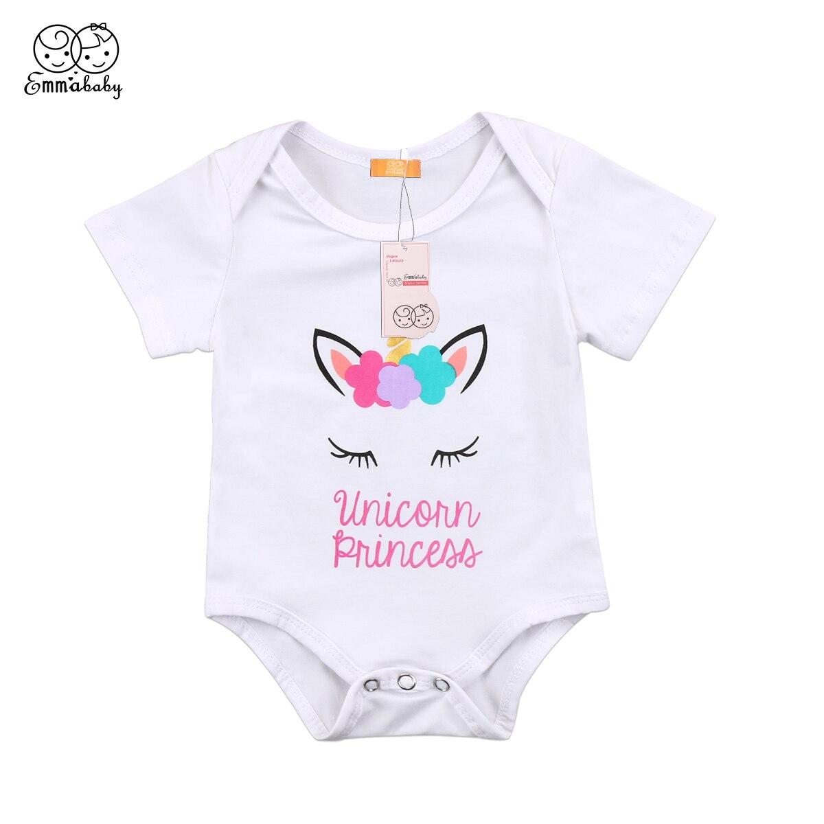 ae6c908abc07 2018 Summer new cute babies bodysuit Newborn Infant Kids Baby Girl short  sleeve letter print unicorn
