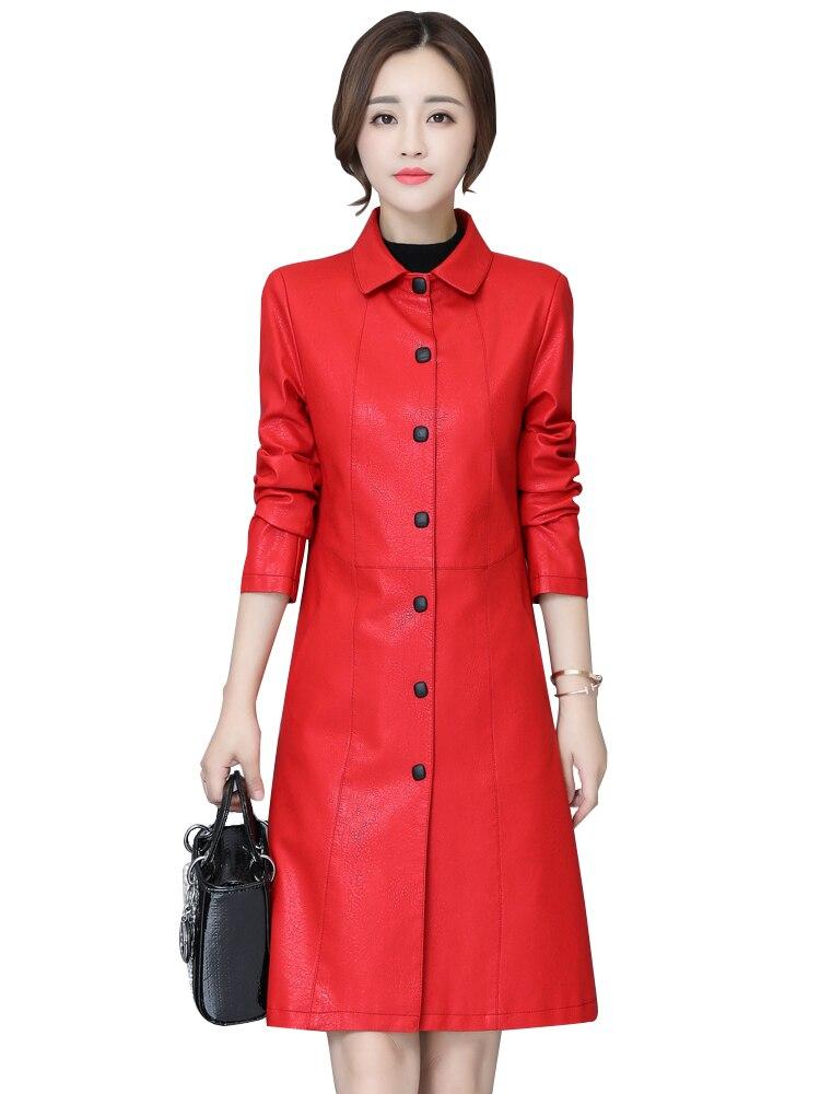 Rétro gris Green Vêtements Vintage Grande Femmes Unique Collar rouge En down Taille Rouge Long Manteau Turn army Veste Cuir Nouvelles Noir Poitrine 2019 Femelle Faux Mince fBwOp