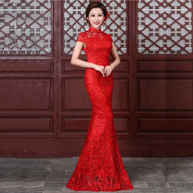 Red Lace Cheongsam Long Qipao Chinese Traditional Wedding Dress Mermaid  Evening Gown Oriental Party Dresses Robe Chinoise Modern 6a6322f778eb
