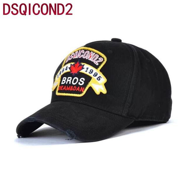 Unisex Baseball Cap DSQ Euramerican Tide Brand Cotton Bros Street Tide Cap  Outdoor Hats Casual Hat Black Adjustable Black Caps dd21368e0e4