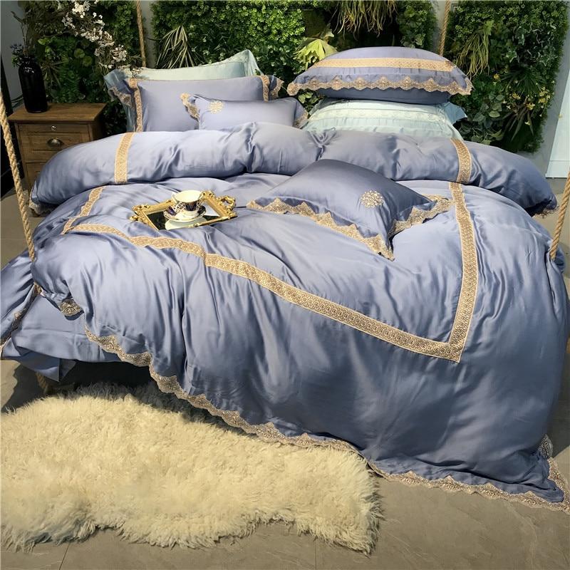 Luxury Embroidery 100S Tencel Silk Light blue Bedding Set Lace Duvet Cover Bed Linen sheet Pillowcase Queen King Size 4/5Pcs