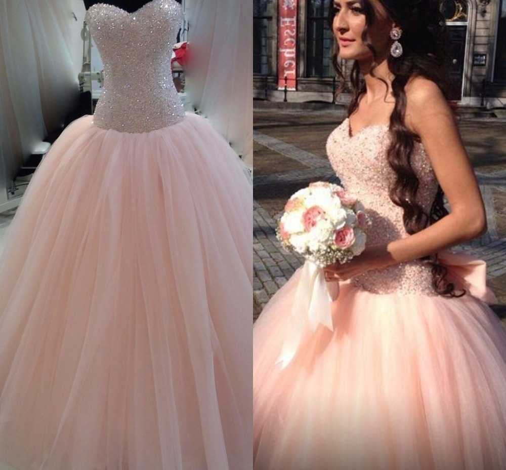 Modest Colored Peach Wedding Dress Vestido De Noiva 2017 Ball Gown Lace Up Tulle Bridal Dresses Hot Sweetangel In From Weddings