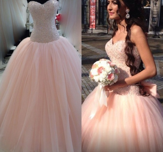 Modest colored peach wedding dress vestido de noiva 2015 ball gown modest colored peach wedding dress vestido de noiva 2015 ball gown lace up tulle bridal wedding junglespirit