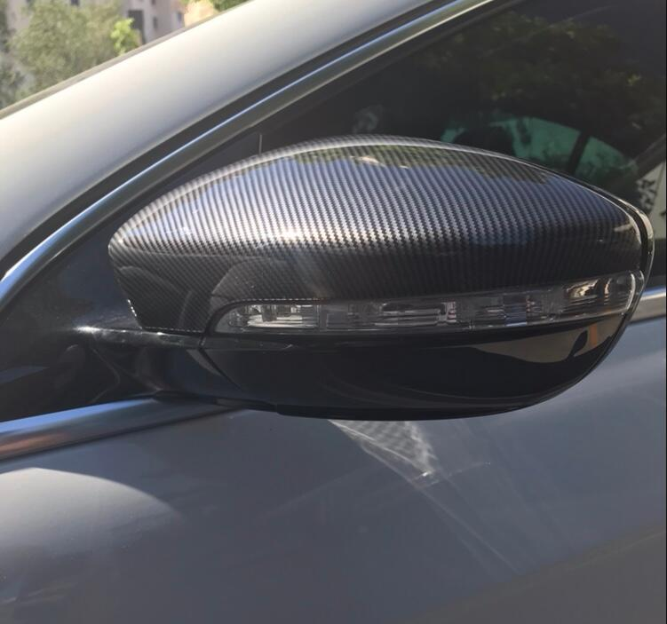 Full Replacement carbon fiber look Rear View Wing Mirror Covers Caps For Volkswagen VW Beetle CC
