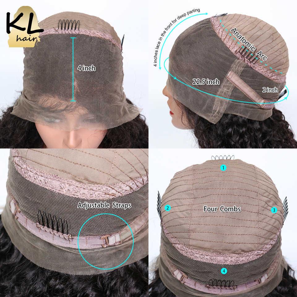 KL Hair 360 кружевных фронтальных париков с волосами младенца афро кудрявые вьющиеся человеческие волосы натуральные черные бразильские волосы remy 360 парики для женщин