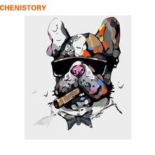 CHENISTORY bezramowe pies zwierzęta DIY malowanie przez zestawy liczb farby na płótnie malarstwo kaligrafia do wystroju domu 40x50cm sztuki