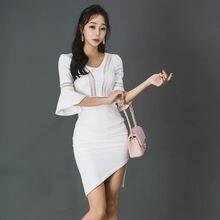 Летнее офисное платье для женщин 2018 белое с v образным вырезом