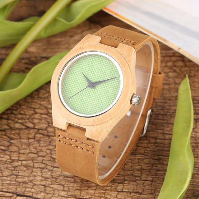Fresh Green Nylon Dial Wood Women Watch Quartz Ultra-light Fashion Casual Wrist Watch Souvenir Gifts for Girls Lady horloges
