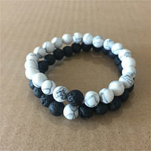 2Pcs/Set Couples Distance Bracelet Classic Natural Stone White and Black Yin Yang Beaded Bracelets for Men Women Best Friend Hot