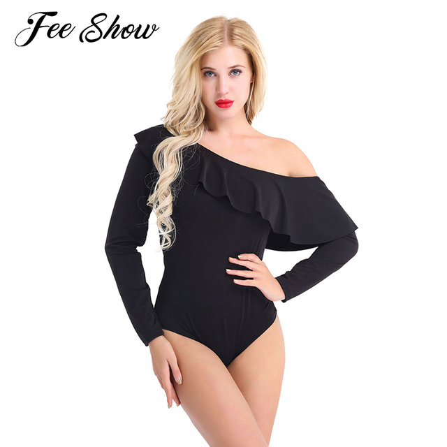 1f4283b6fc Sexy Womens One-piece Off One Shoulder Ruffle Overlay Long Sleeve Leotard  Bodysuit Jumpsuit Women s High Cut One Piece Bodysuit