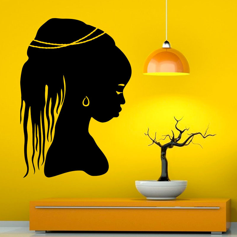 <font><b>African</b></font> Beautiful Girl Wall Sticker Wall Art Vinyl Decal Self Adhesive Modern Style Wall Decals <font><b>Home</b></font> <font><b>Decor</b></font> For Bedroom
