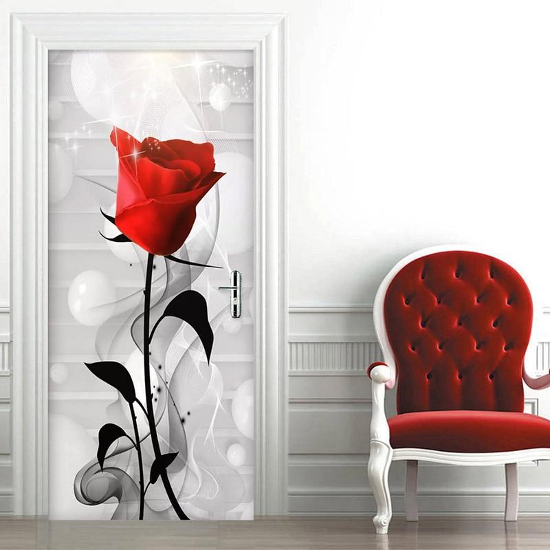 PVC Self Adhesive Waterproof Photo Wallpaper 3D Stereo Rose Flowers Mural Creative DIY Door Sticker Living Room Bedroom 3D Decor