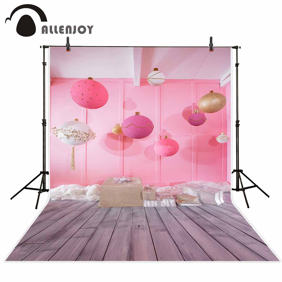 Allenjoy photography backdrops Large balls on a pink background in room decorating gift box on gray wooden floor photocall allenjoy photography backdrops library bookshelf school student study room books photocall baby shower
