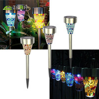 3pcs Solar Lamps Outdoor 3 Color Mosaic Lampshade Stake Light Pathway Lighting For Garden Lawn Path