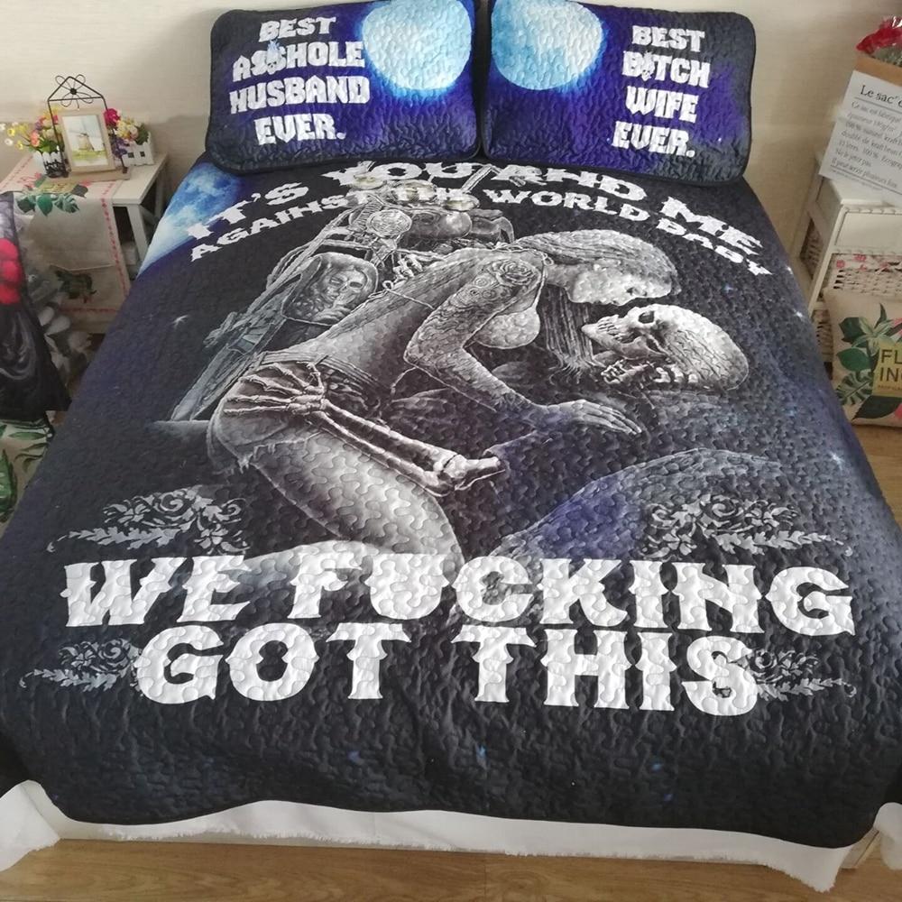 sexy skull double bedspread Comforter bedding set bedclothes queen sizes|Bedspread|   - title=