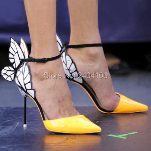c3f726c492fd Online Shop Yellow Patent Leather Ladies Shoes Butterfly Wings Stiletto  Sandals Women Party Wedding High Heels Pointed Toe Ankle Strap Pumps