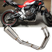 MT07 FZ07 Motorcycle Muffler Full Front Exhaust System Pipe Mid Tube DB Killer FOR YAMAHA MT 07 FZ 07 2013 2017 Year AK129