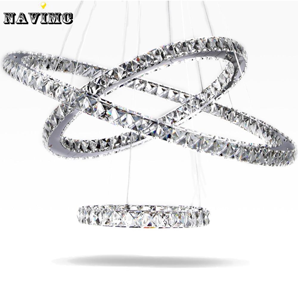 modern led crystal chandelier light fixture for living room dining room decorative hanging lamp diamond 3 rings chandeliers - Modern Crystal Chandeliers