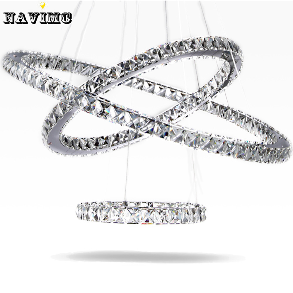 Modern Led Crystal Chandelier Light Fixture for Living Room Dining Room Decorative Hanging Lamp Diamond 3 Rings Chandeliers modern crystal chandelier led hanging lighting european style glass chandeliers light for living dining room restaurant decor