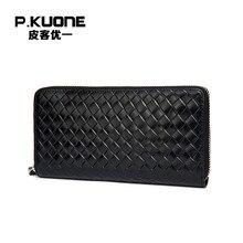P. KUONE Echtem Leder Business Männer Handtasche Hohe Qualität Mode Brieftasche Große Kapazität Lange Geldbörse Neue Design Kartenhalter