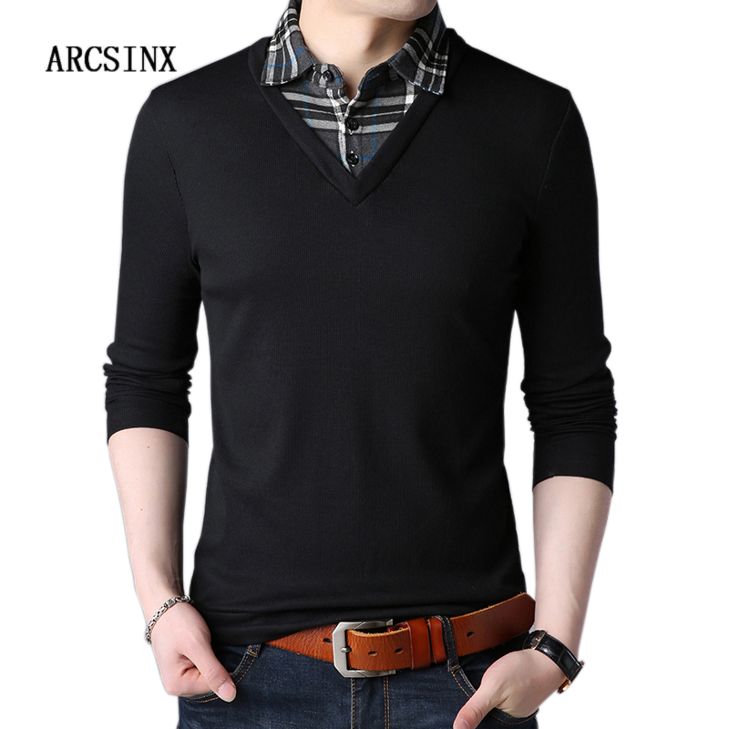 ARCSINX Black   Polo   Man Fashion Fake Two Pieces Design   Polo   Shirt Men Long Sleeve Casual Jersey 5XL   Polo   Men Brand High Quality