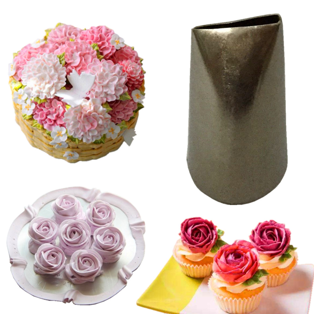 Home Cake Decorating: 1pcs Stainless Steel Rose Petal Piping Icing Nozzle Cake