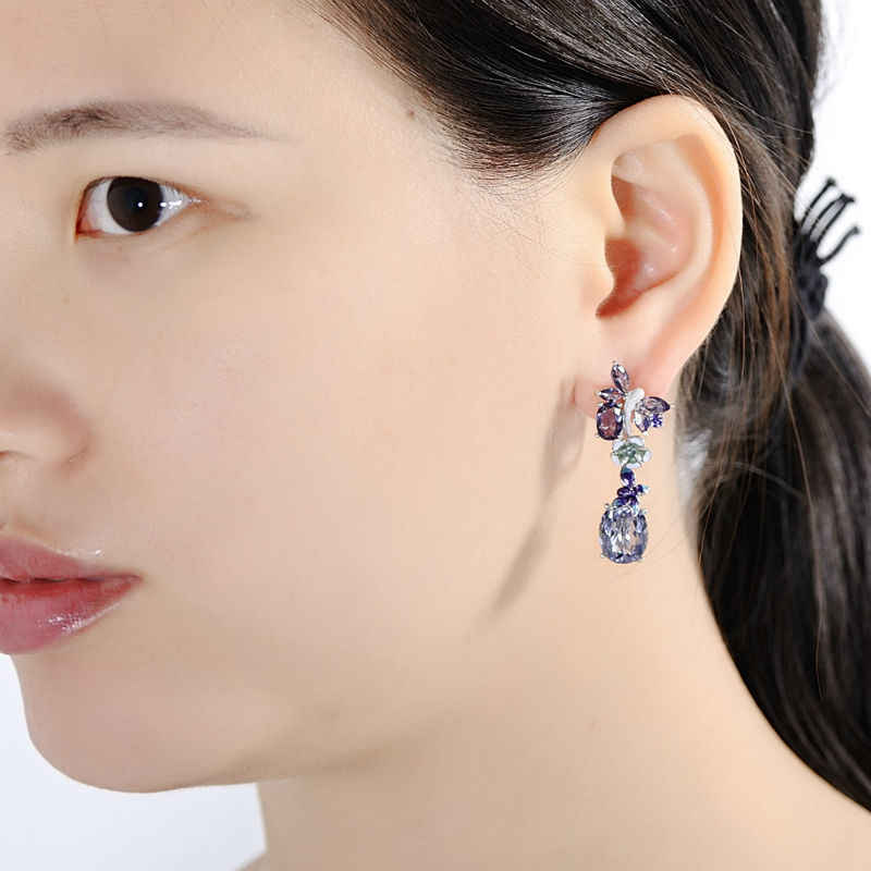 SANTUZZA כסף תכשיטי סט לנשים 925 כסף סטרלינג פרפר סגול אבנים טבעת עגילי תכשיטים בעבודת יד אמייל