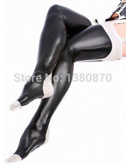 Сексуальное черное латексные колготки длинный чулок